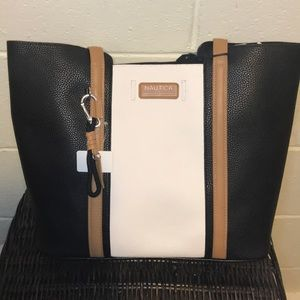New Nautica handbag tote in black and white